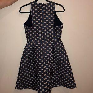 ASOS Navy Blue Scuba Dress with Cream Polka Dots